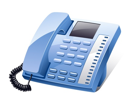phone button: Vector illustration of landline phone on white background