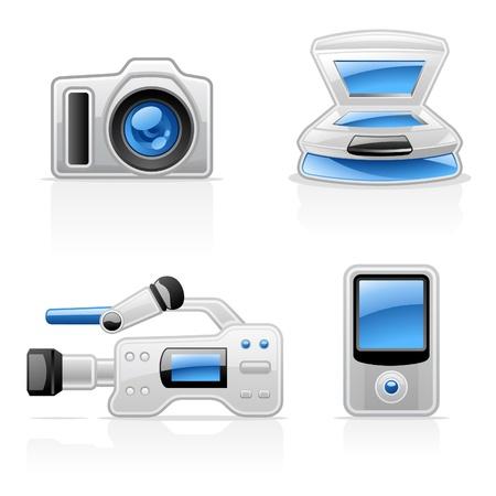 fotocopiadora: Media equipo iconos del vector en el fondo blanco