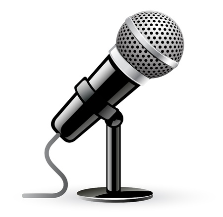 Vector illustration of microphone on white background Illustration
