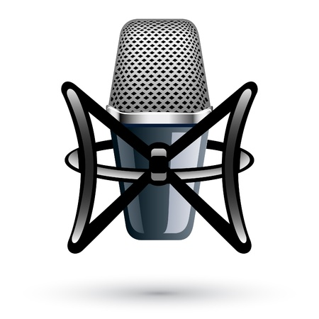 condenser: Vector illustration of Studio Condenser Microphone on white background