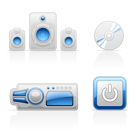 mp3 player: Music vector icons on white background