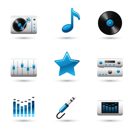 audio plug: Vector music icon on white background