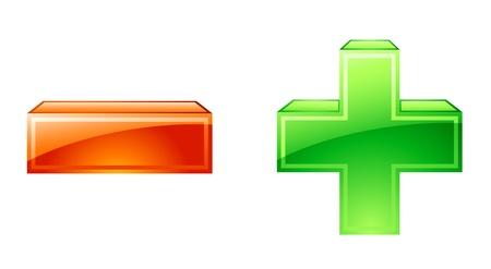 plus icon: Vector illustration of plus minus icons on white background Illustration