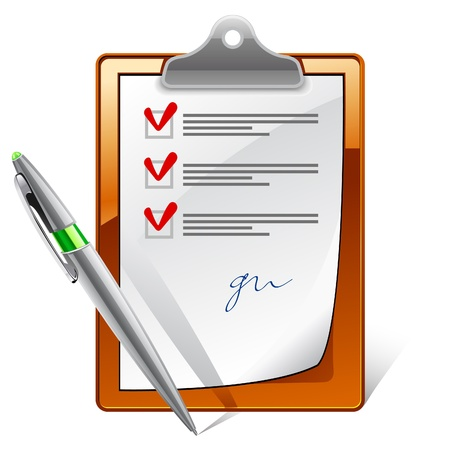 checklist: Vector illustration of clipboard with check boxes and pen on white background
