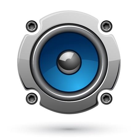 woofer: Vector illustration of audio speaker on white background