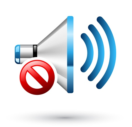 sound waves: Vector illustration of Speaker off on white background