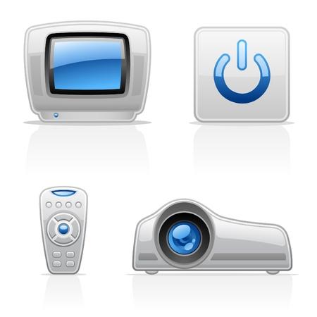 panel de control: TV V�deo iconos vectoriales sobre fondo blanco Vectores
