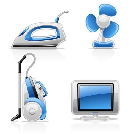 Vector illustration of household appliances on white background