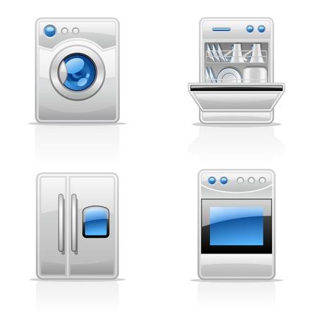 Ilustración vectorial de electrodomésticos de la cocina en el fondo blanco