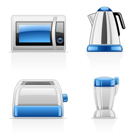 black appliances: Illustrazione vettoriale di elettrodomestici da cucina su sfondo bianco Vettoriali