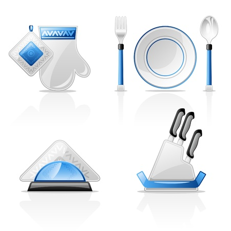 Vector illustration of kitchen items on white background Vector