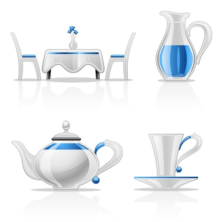 stand teapot: Vector illustration of kitchen items on white background