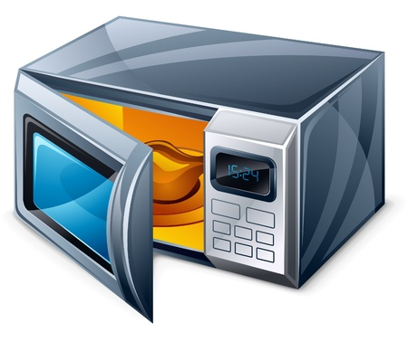 microwave oven: Microwave oven Isolated on a white background Illustration