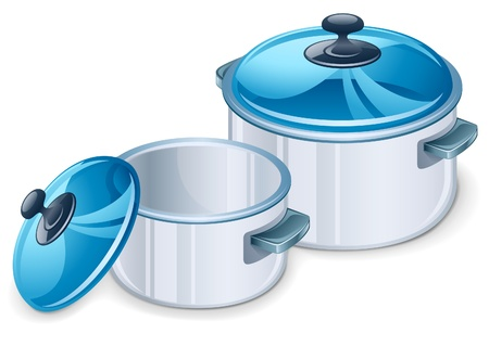 stainless steel kitchen: Vector illustration saucepan on white background
