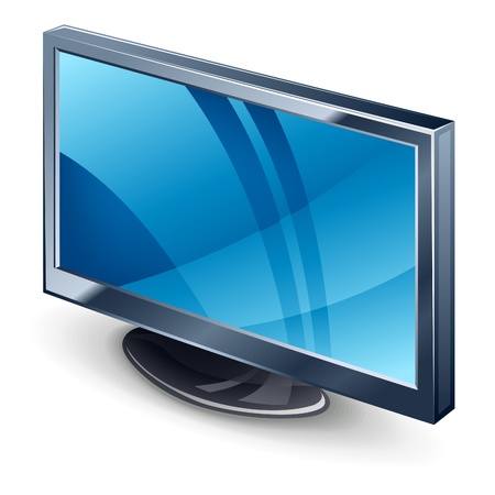 Vector illustration of display TV on white background Vector