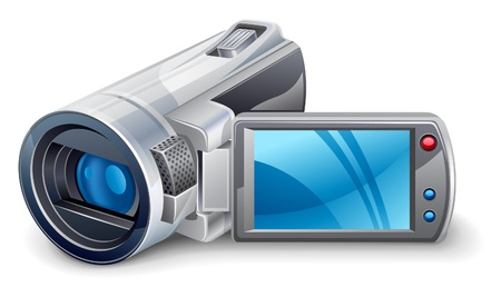 video still: Vector illustration of of video camera on white background