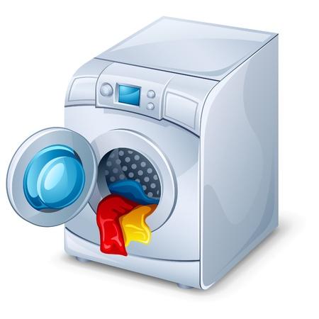 clothes washing: Ilustraci�n vectorial de la m�quina de lavado en el fondo blanco Vectores