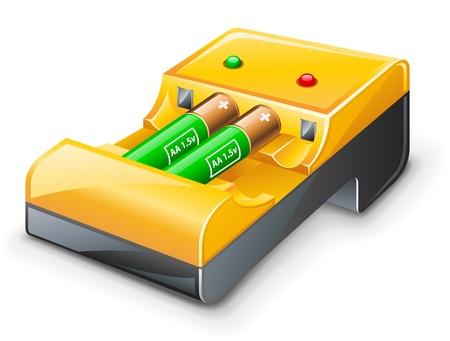 장 전기: 흰색 배경에 배터리 충전기의 벡터 일러스트 레이 션 일러스트