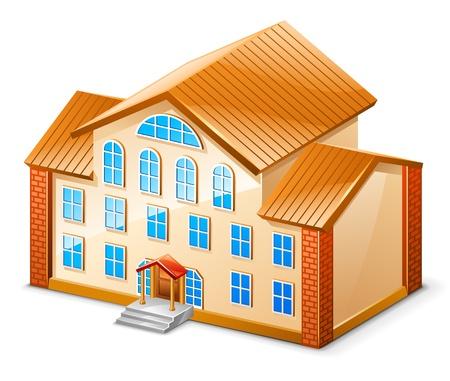 hospedaje: Ilustración vectorial de la construcción en el fondo blanco