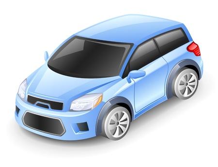 white car: Illustrazione vettoriale di auto su sfondo bianco