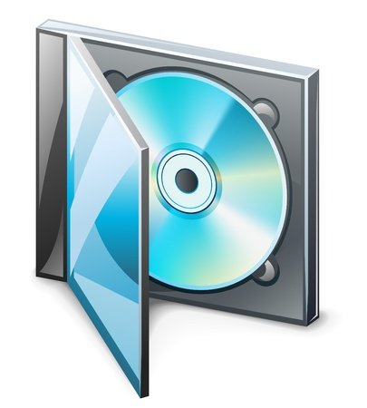 Vector illustration of CD in case on white background