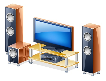 entertainment center: Vector illustration of home theater system with TV and speakers on white background