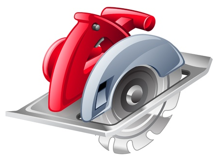 Vector illustration of circular saw on white background
