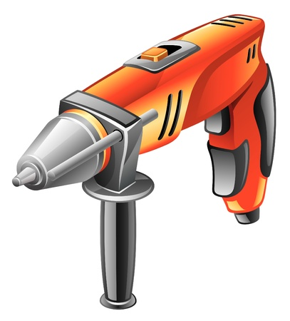 Vector illustration of electric drill on white background Vector