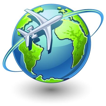 trajectoire: Vector illustration d'un avion voler la terre sur fond blanc