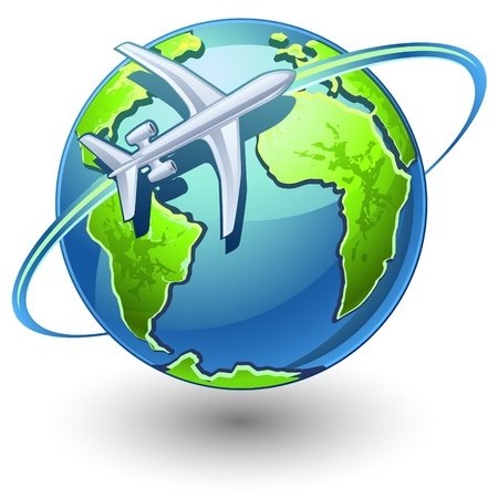trajectory: Vector illustration of airplane flying the earth on white background