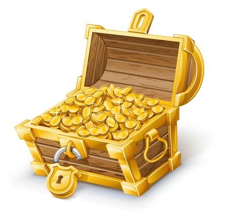 cofre del tesoro: Ilustraci�n vectorial de cofre del tesoro en el fondo blanco