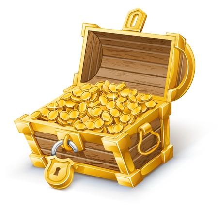 gold treasure: Vector illustration of treasure chest on white background  Illustration