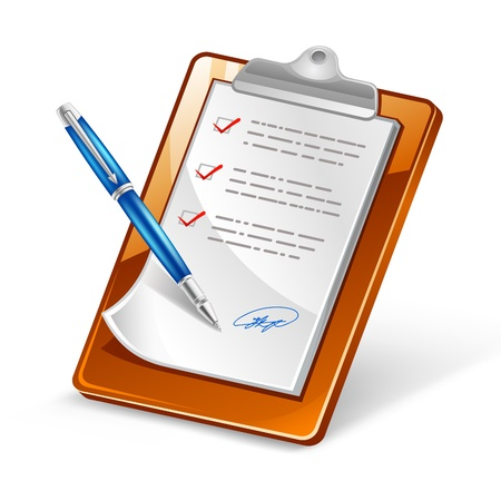 filing documents: Vector illustration of clipboard with pen on white background Illustration