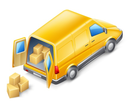 mail delivery: Vector illustration of delivery van on white background