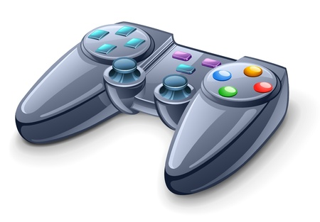 Vector illustration of gamepad on white background