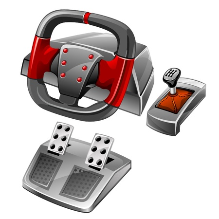 gearshift: Vector illustration of computer game wheel on white background
