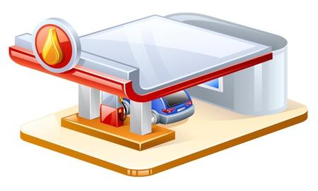 Ilustración vectorial de la estación de gasolina en el fondo blanco