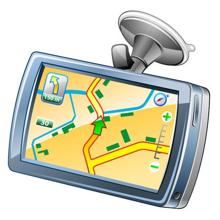 Vector illustration of GPS navigation on white background