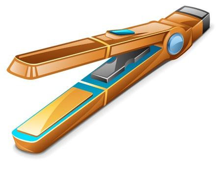 Vector illustration of hair flattener - iron on white background Stock Vector - 12413403