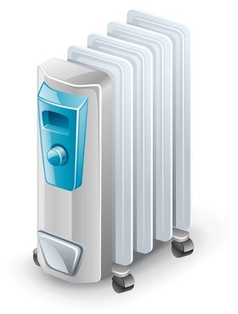 energia electrica: Ilustraci�n vectorial de calentador de aceite el�ctrica sobre fondo blanco