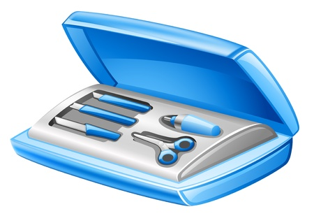 Vector illustration of manicure set on white background Vector