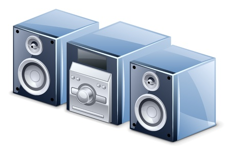 sound system: Ilustraci�n vectorial de un sistema de sonido en el fondo blanco Vectores