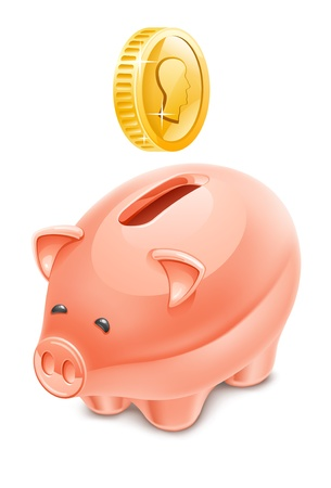 Vector illustration of piggy bank on white background. Stock Vector - 12413768