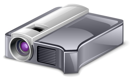 Vector illustration of video projector on white background Stock Vector - 12401532