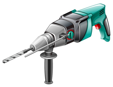 drill: Vector illustration of rotary hammer on white background Illustration