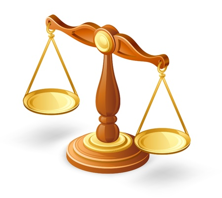 Vector illustration of balance scales on white background