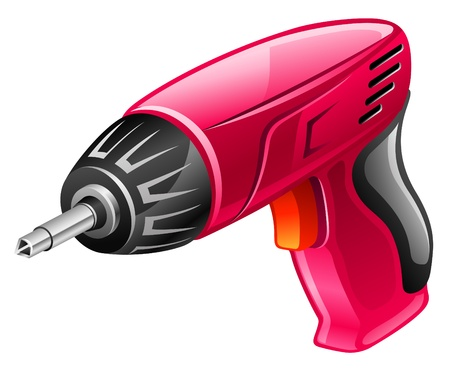electric drill: Vector illustration of screwdriver on white background Illustration