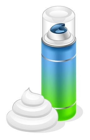 aseo personal: Ilustración vectorial de la crema de afeitar sobre fondo blanco