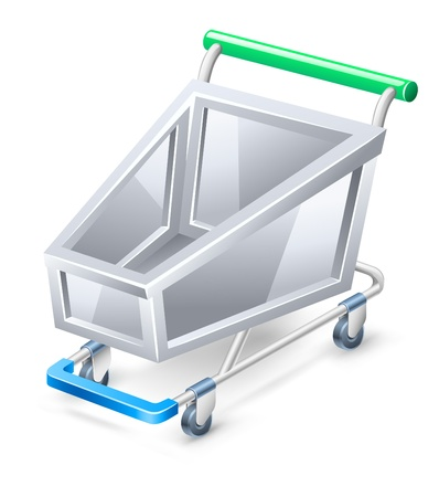 Vector illustration of shopping cart on white background. Vector