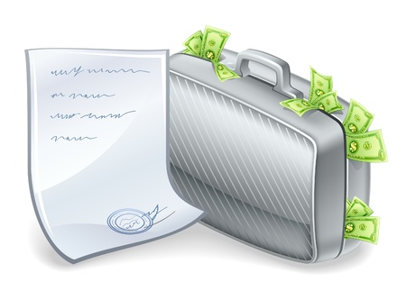 Vector illustration of suitcase full of money with sheet nearby on white background. Stock Vector - 12413788
